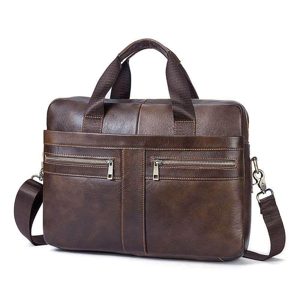 e01f68986d3 14 Inch Genuine Leather Handbag Briefcase Laptop Document Holder Men  Business Women