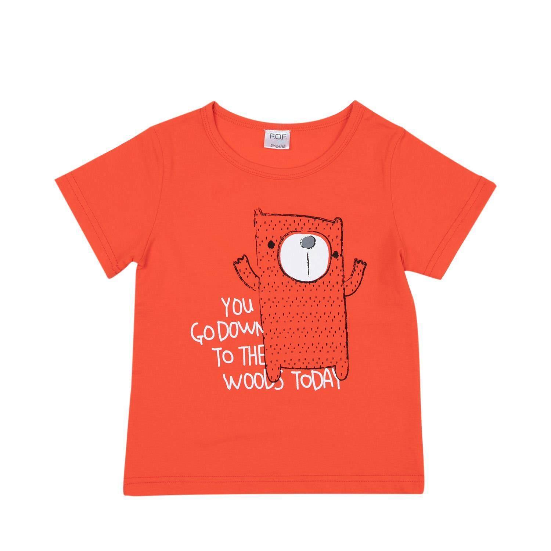 เสื้อยืดแขนสั้นเด็กผู้ชาย ลายหมี รุ่น FFL029FTAE24 สีส้ม ไซส์ 2 ปี