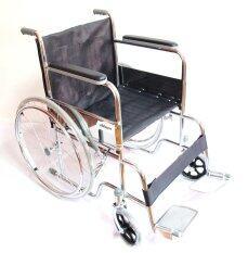 ส่วนลด A Bloom Wheelchair รถเข็นผู้ป่วย เหล็กชุบ พับได้ รุ่นมาตรฐาน สีดำ A Bloom