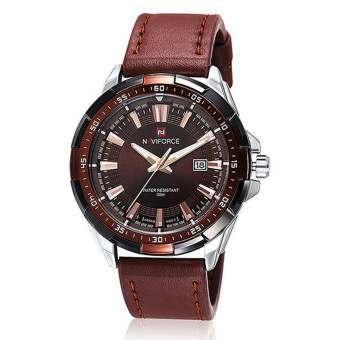 NAVIFORCE นาฬิกาข้อมือผู้ชาย รุ่น NF9056-S/CE สายหนัง สีน้ำตาลเงิน สินค้าพร้อมจัดส่ง