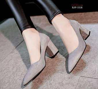 รองเท้าส้นสูง หนังกำมะหยี่ ปลายแหลม ทรงสวยงาม