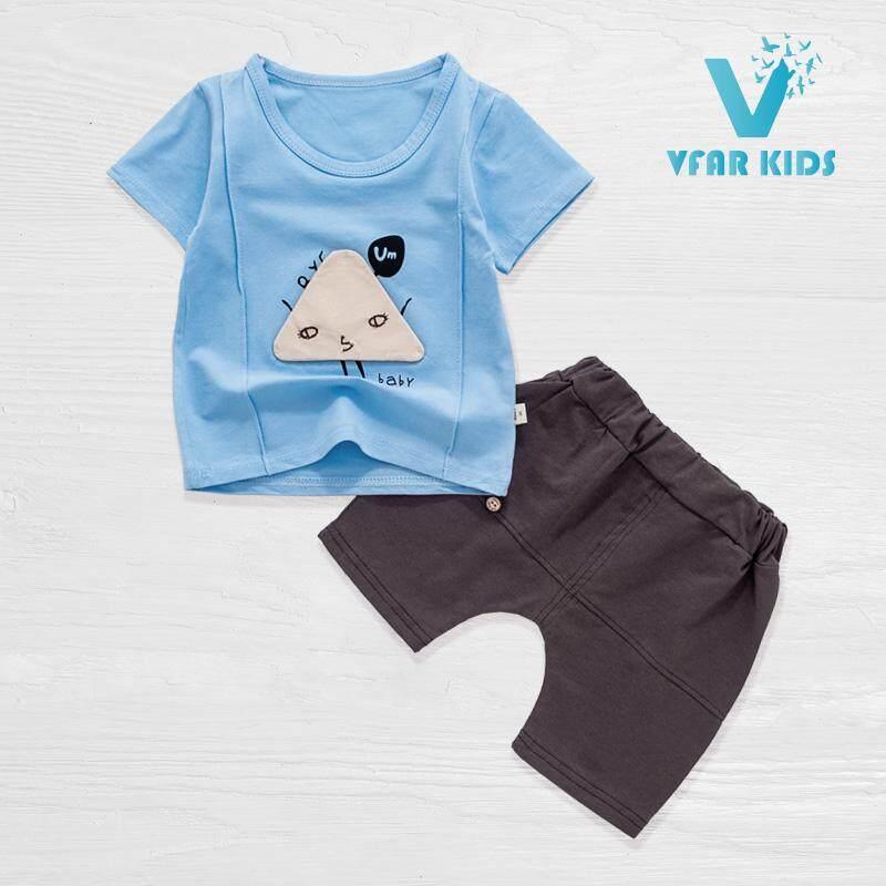 Vfar Kids ชุดเสื้อผ้าเด็กผู้ชาย/เด็กผู้หญิงแขนสั้นเข้าชุด ลายอั้ม เบบี้ ไซส์ 90#/6-12เดือน 100#/12-24เดือน 110#/2-3ปี