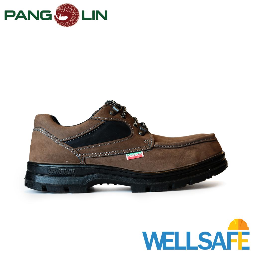 ตัวแทนจำหน่าย! รองเท้าเซฟตี้ PANGOLIN รุ่น 0285U สีน้ำตาล รองเท้านิรภัย หุ้มส้น หัวเหล็ก พื้น PUรองเท้ามาตรฐาน มอก คุณภาพ