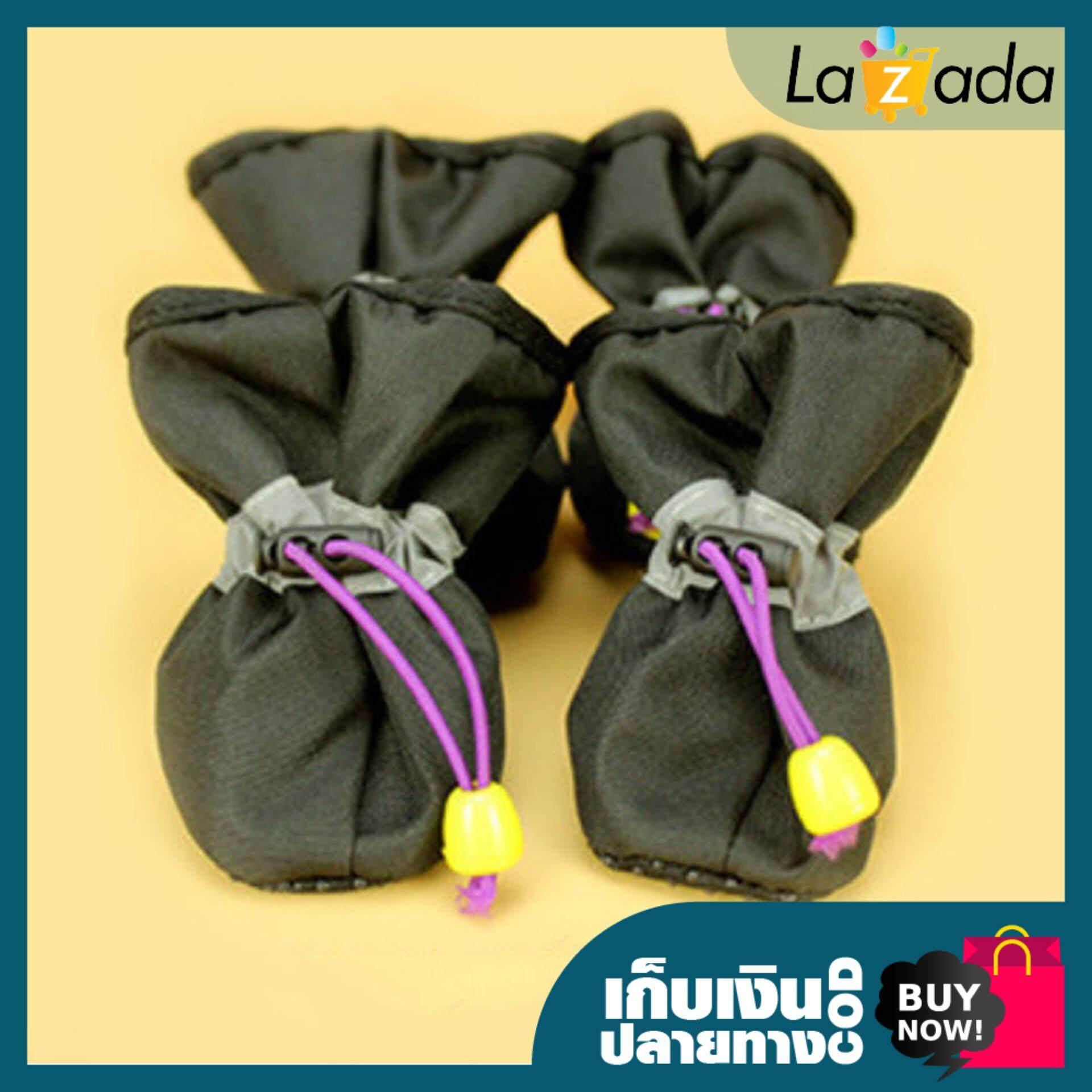 รองเท้าสุนัข ผลิตจากวัสดุอย่างดี มีความยืดหยุ่น - สีดำ By Shopklub.