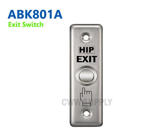 Hip Exit Switch Abk801a  (aluminum)  ใช้สำหรับกดออกจากประตูด้านใน ใช้ร่วมกับระบบควบคุมประตูด้วยเครื่องทาบบัตร, เครื่องอ่านการ์ด และเครื่องสแกนลายนิ้วมือ. , อุปกรณ์ Rfid.