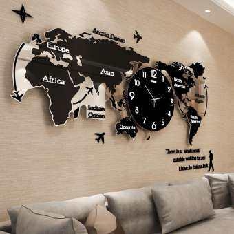 Creative Mute World รูปร่างแผนที่นาฬิกาแขวนผนังส่วนตัวบ้านดิจิตอลควอตซ์นาฬิกาแฟชั่นนาฬิกาตกแต่งของขวัญครอบครัว-