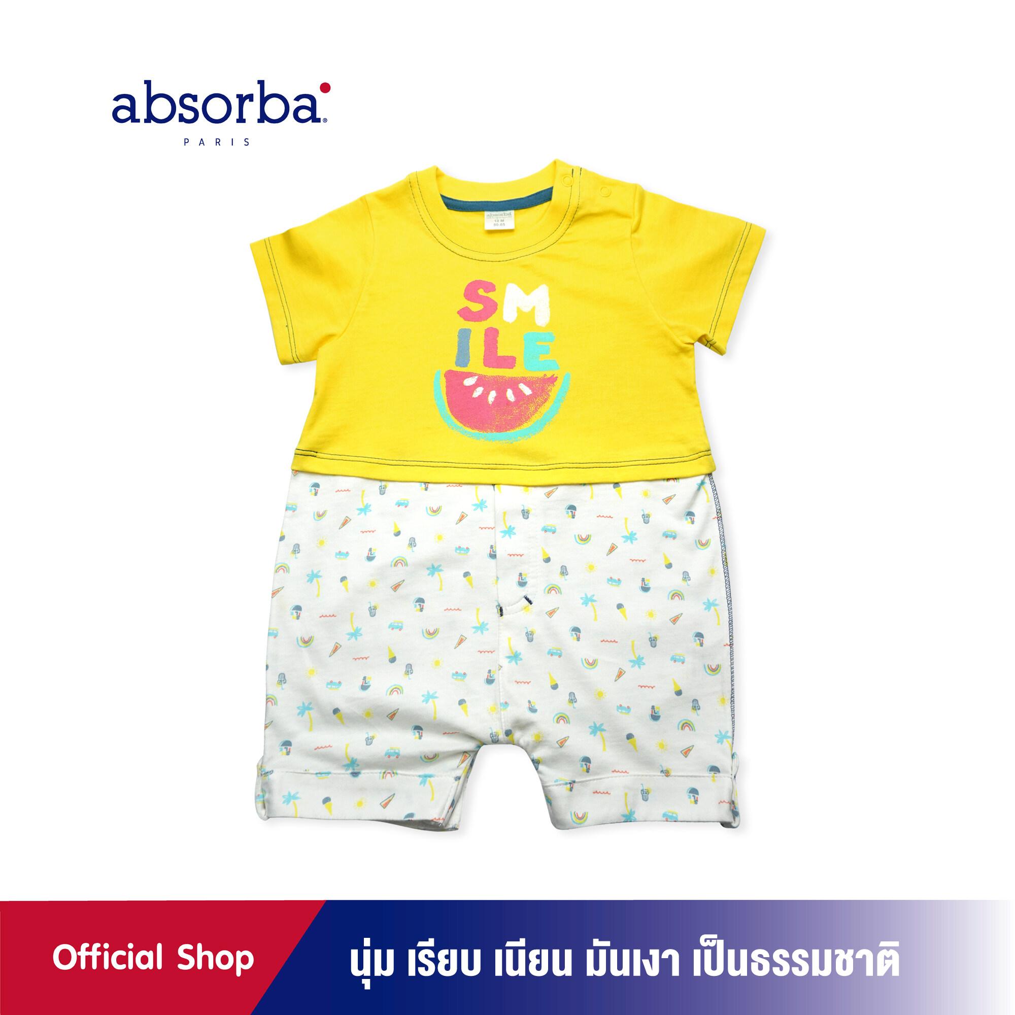 absorba (แอ๊บซอร์บา) ชุดหมีขาสั้นเด็กอ่อน คอลเลคชั่น Ice Cream สำหรับเด็กอายุ 3 เดือน ถึง 2 ปี - R1H9003YE ชุดเด็กผู้ชาย