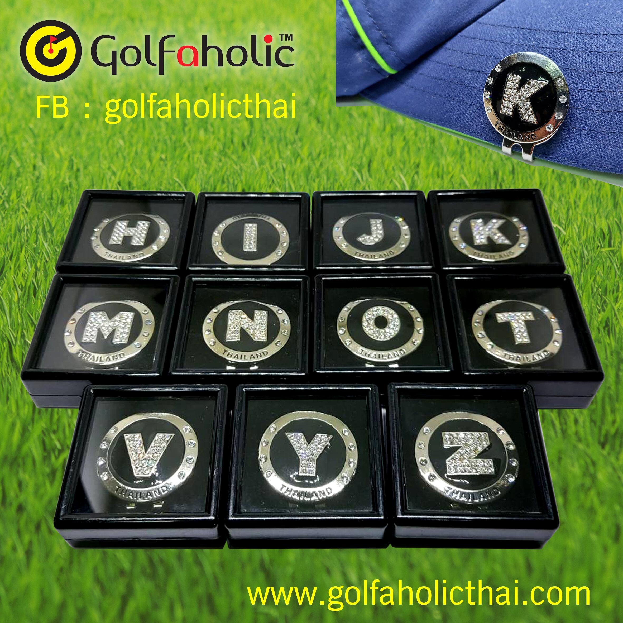 Golfaholic Crtstal Golf Magnetic Ball Markers Alphabets - กอล์ฟ บอลมาร์คเกอร์ ตัวอักษรอังกฤษ ฝังคริสตัล.
