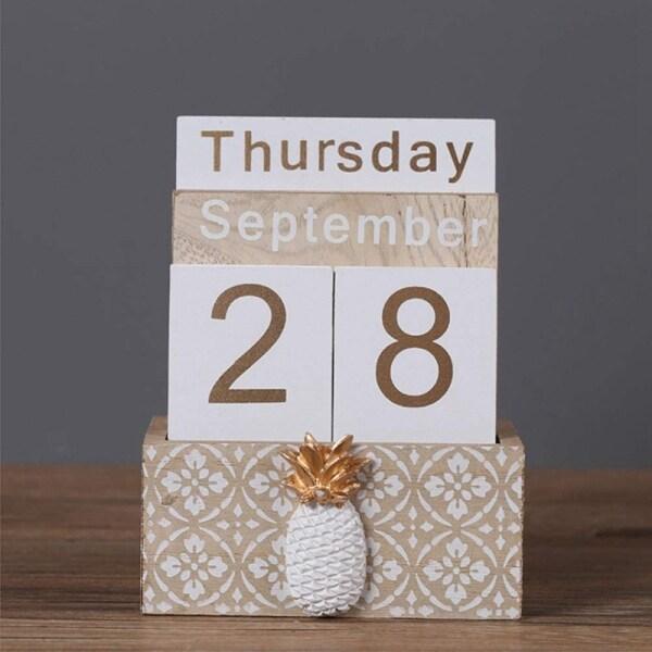 Mua Wooden Perpetual Calendar, Vintage Wood Block Perpetual Calendar Desk Accessory Month Week Date Blocks for Home Decoration