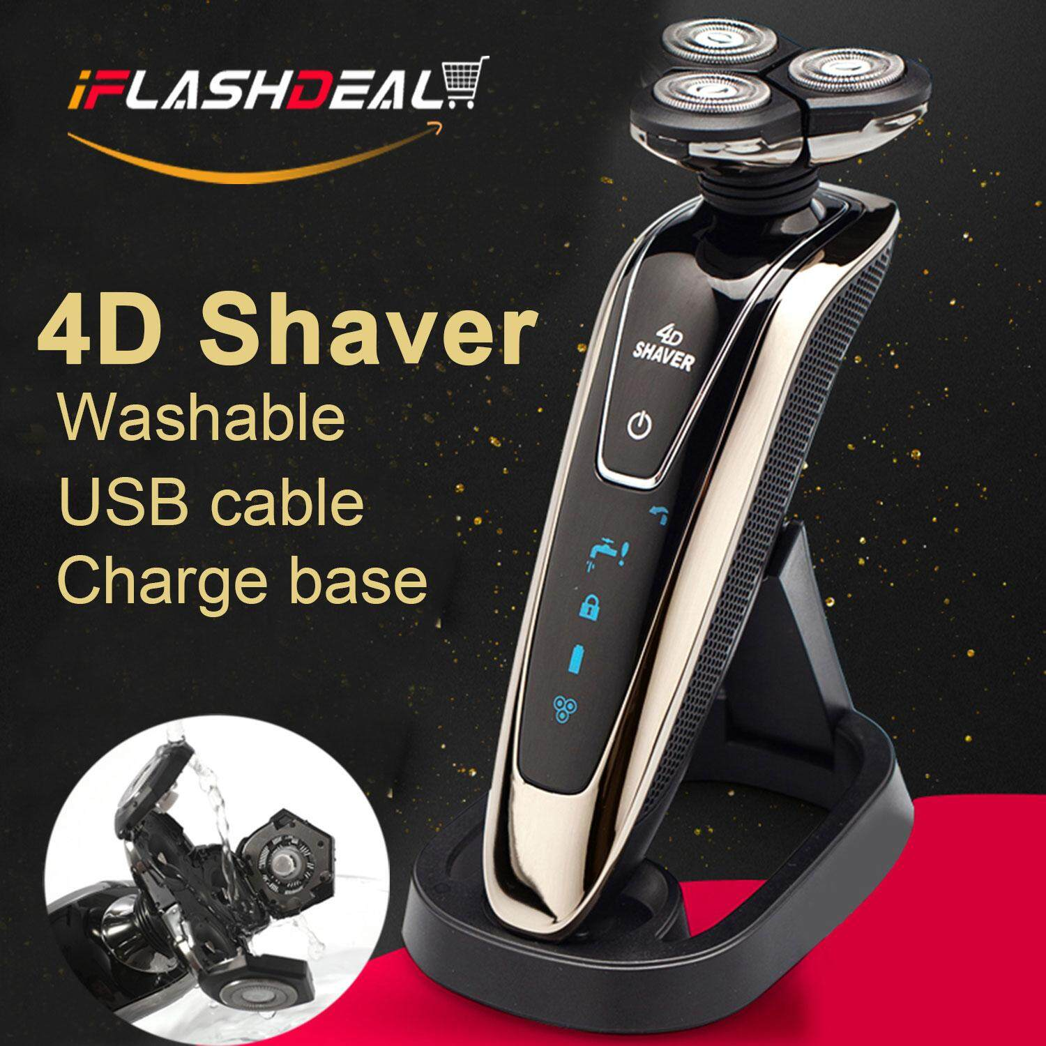 Iflashdeal Men Electric Shaver 4d Beard Shaving Machine Waterproof Washable Trimmer With Charging Base By Iflashdeal.