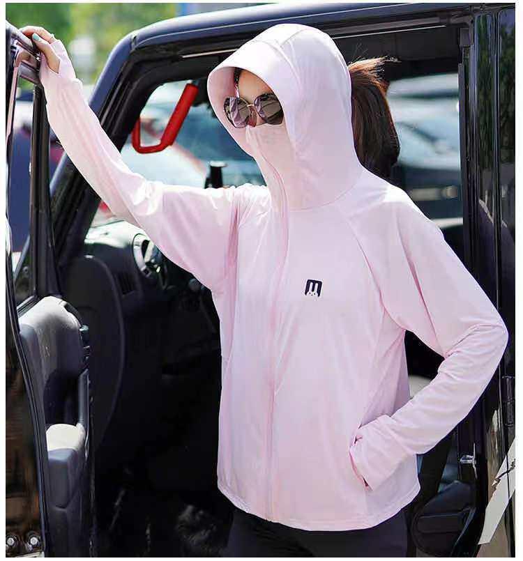 เสื้อกันแดด Uv Upf 50+ พร้อมส่ง แขนยาว มีฮู้ด สไตล์เกาหลี กันรังสี ยูวี 97% ผ้านุ่ม ระบายอากาศดี เสื้อกันแดดผญ ผ้าไหมน้ำแข็ง Freesize.
