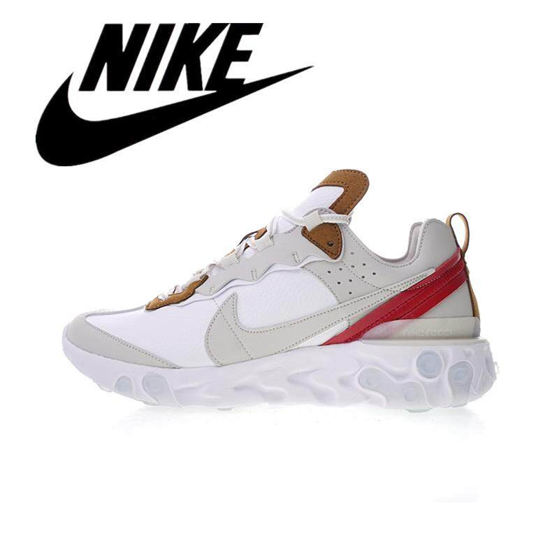 __Nike Secret Elements REACT ELEMENT 87 Men's Breathable Running Shoes Women's Lightweight Sneakers Leather Red Brown AQ1090-101#36-45