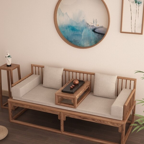 New Chinese Style Scaling Solid Wood Old Elm Arhat Bed Slidable Bed of Small-Sized Sofa Collapse Chair Mortise and Tenon Joint Furniture Zen