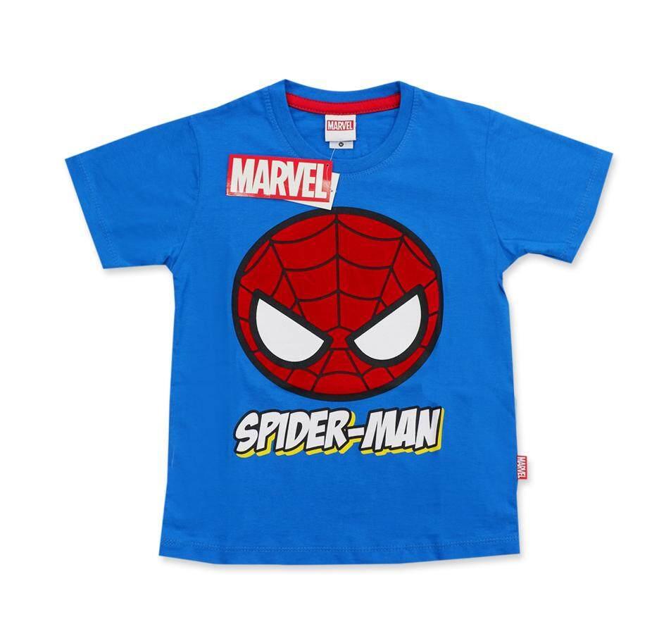 เสื้อเด็กลายสไปเดอร์แมนพิมพ์นูนด้วย กำมะหยี่ สีฟ้า ขนาด S-XL
