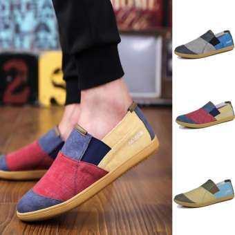ผ้าลินินกัญชานุ่มผู้ชายรองเท้าลำลองลื่นบนชายแฟลตชายรองเท้า espadrille รองเท้าผ้าใบคลาสสิก-