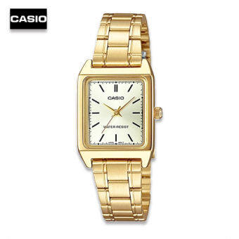 Velashop นาฬิกา Casio นาฬิกาข้อมือผู้หญิง สีทอง/หน้าทอง หน้าปัดสี่เหลี่ยม รุ่น LTP-V007G-9EUDF, LTP-V007G-9E, LTP-V007G, LTP-V007