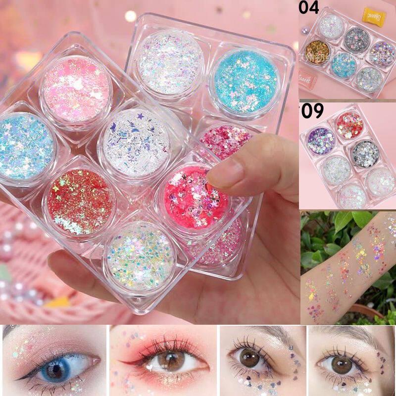 (ใหม่) 6-color sequin eyeshadow cream เจลกากเพชรทาตา กลิตเตอร์วิ้งดาว 6สี(New) 6-color sequin eyeshadow cream, glitter glitter gel Glitter star, 6 colors