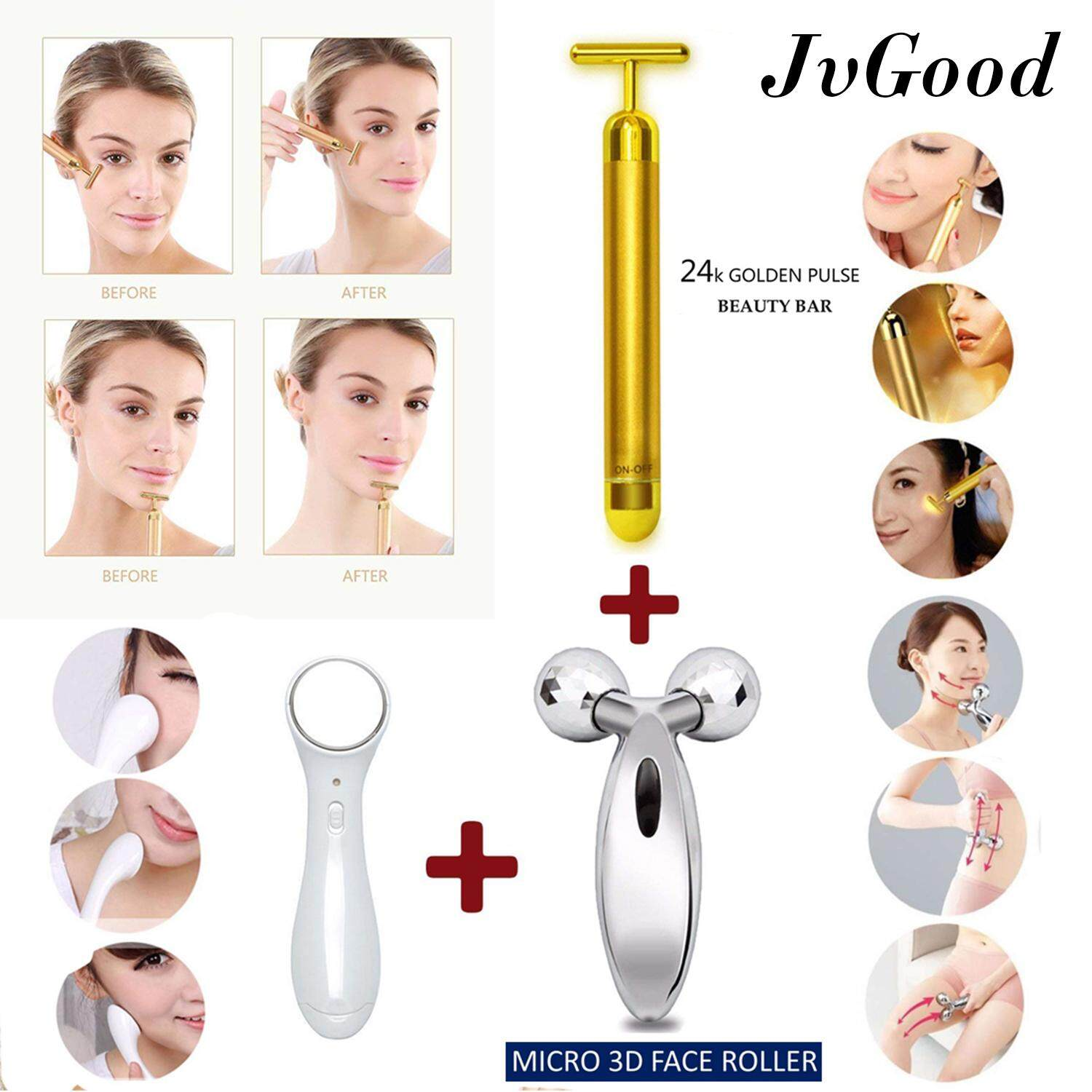 JvGood เครื่องนวดหน้าระบบไอออนนิค ขนาดพกพา Skin Care 3-in-1 Kit Face Lifting Slimming Face Massager Roller Face Roller Whitening Face Double Chin 3D Face Massager