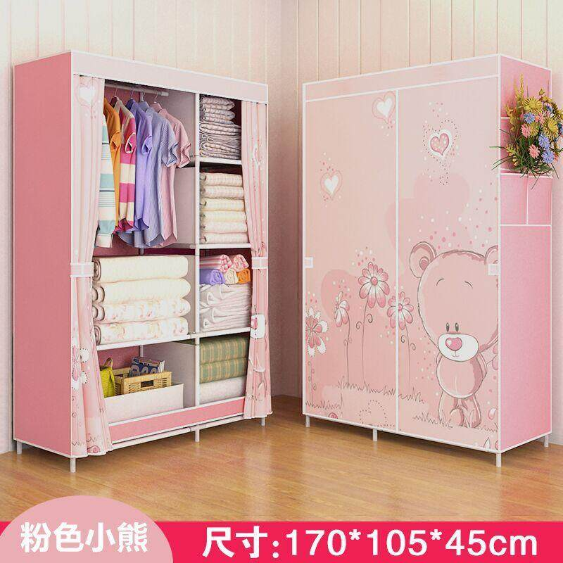 R10 LEHUOSHIGUANG Simple Wardrobe Fabric Cloth Wardrobe Steel Pipe Reinforced Steel Frame Closet Dormitory Folding Storage Cabinets