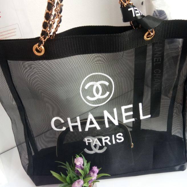 กระเป๋า ชาแนล Shopping ตาข่าย งานปัก งานขายดี งานสวยมาก.