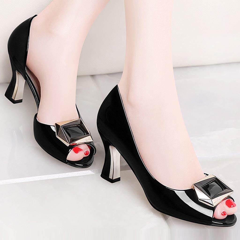 51cf97433fb Disesuaikan dengan Musim Panas Baru Fashion Wanita Sepatu Bebas-Slip Sepatu  Hak Tinggi Open-Toe Sandal Elegan (Sepatu Ukuran Grafik)
