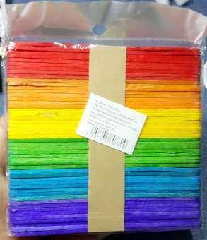 (ส่งในไทย-เคอรี่) ไม้ไอติม คละสี สำหรับงานประดิษฐ์ กว้าง 10mm ยาว 114mm แพ็คละ 50 อัน