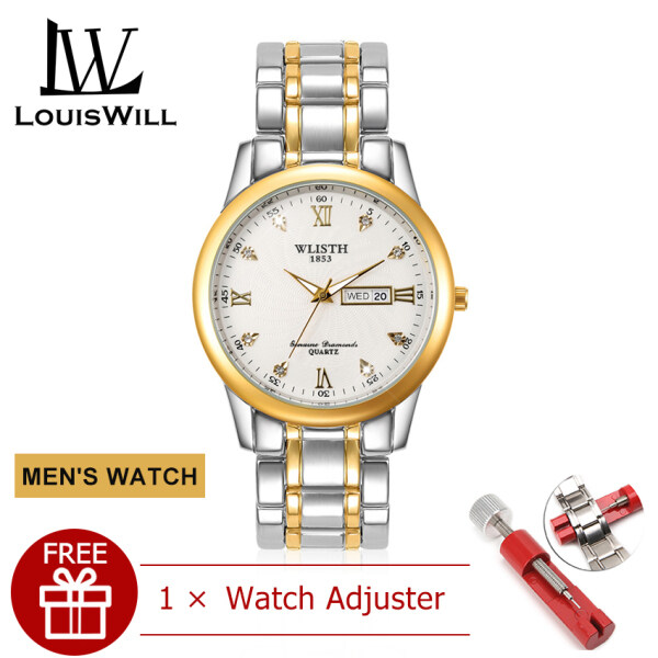 LouisWill Fashion Couple Watches Quartz Watches Casual Wristwatches 30M Waterproof Watches Stainless Steel Watches for Men Women Lover Calendar Luminous Wrist Watch with Free Band Remover Malaysia