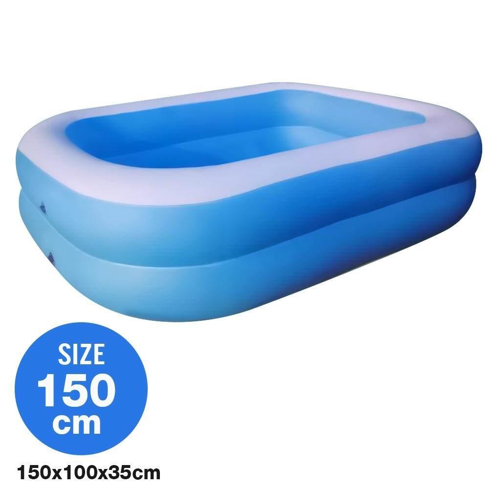 Telecorsa สระน้ำเป่าลม สระว่ายน้ำเป่าลม Family Pool ขนาด 150x100x35 Cm สีฟ้า รุ่น Swim150-00c-Rim-Blue By Mhf Thailand.