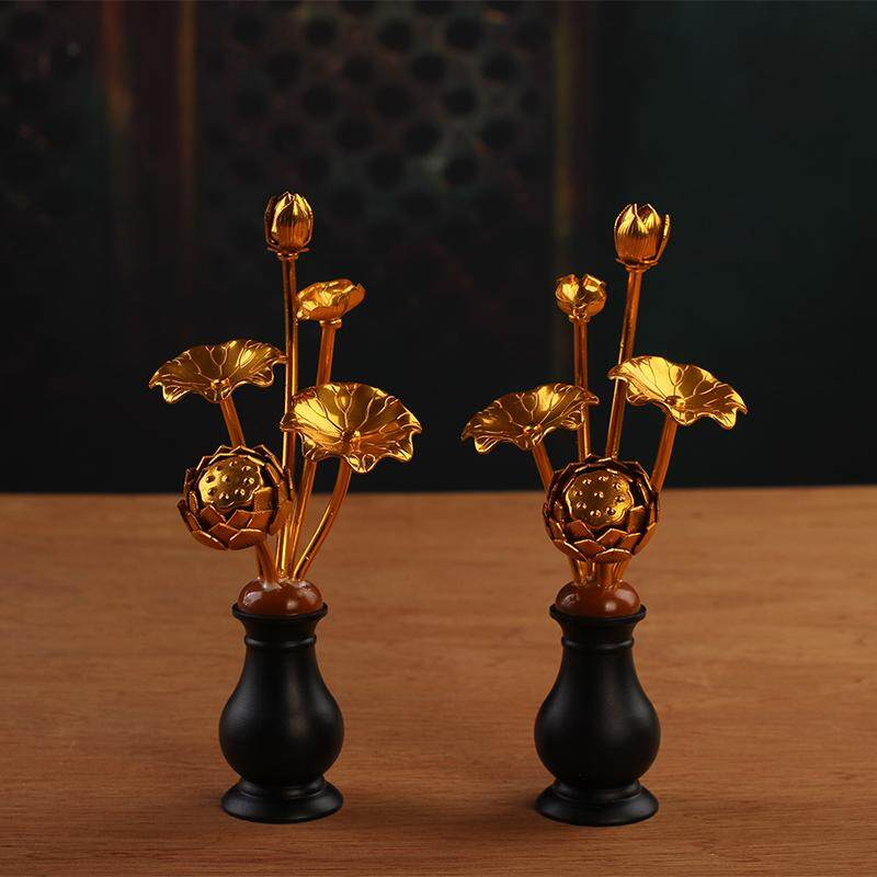 YTO Express Buddha Utensils Handmade liu jin fo before LOTUS Lotus Buddhist Offering Vase Model Bouquet Gold Flower Buddhist Offering Decoration