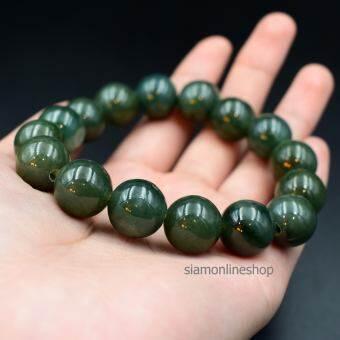 JADE หยกพม่าแท้ โทนสีเขียวเข้ม ขนาด 12 มม. เกรดพรีเมียม by siamonlineshop