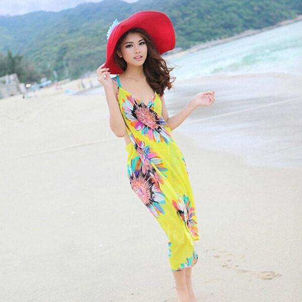 Khăn Choàng Đi Biển Thoải Mái Wudr Đầm Đi Biển Gợi Cảm Quấn Chữ V Sâu, Voan Đồ Bơi, Bikini Sarong Che Kín