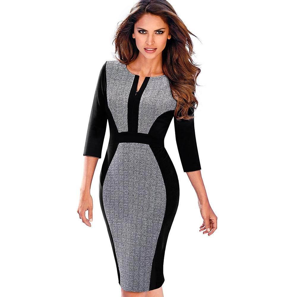 df3a926993abf Women Retro Contrast Patchwork Wear to Work Business Vestidos Office  Bodycon Zipper Sheath Female Dress