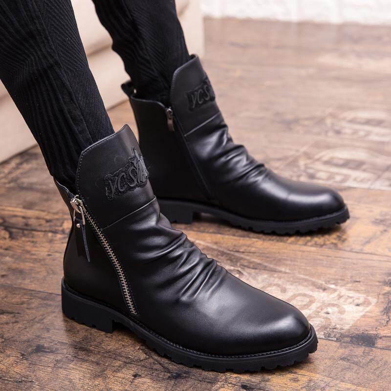 Soaring 2019 รองเท้าหนังผู้ชายรองเท้าแฟชั่นฤดูหนาวรองเท้าหนังฤดูใบไม้ร่วงสำหรับผู้ชาย New High Top Casual Shoes Men By Soaring Store.
