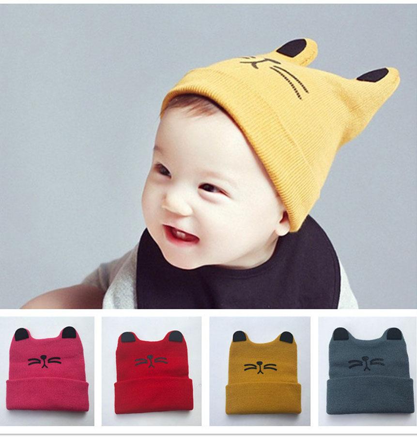 หมวกไหมพรมเด็ก พิมพ์ลายหน้าน้องแมว หมวกมีหู น่ารัก.