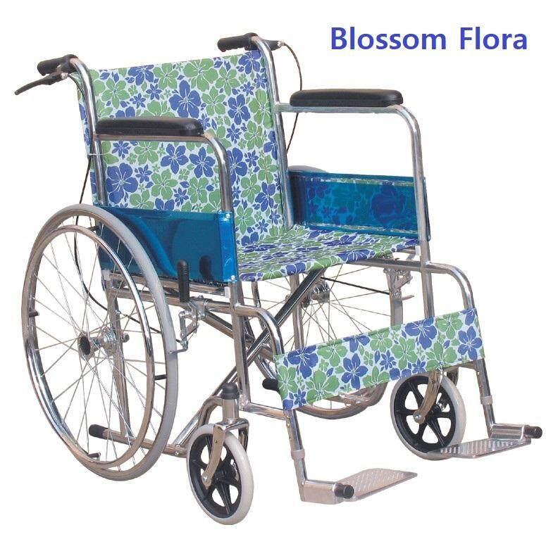 ลายผ้าพิเศษ ! Abloom Standard Wheelchair รถเข็น ผู้ป่วย เหล็กชุบ พับได้ รุ่นมาตรฐาน พร้อมเบรคมือ Special Collection