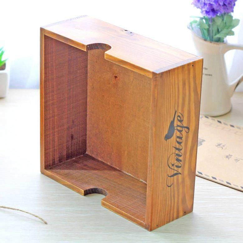 HORI Old Wooden Box Bird Pattern Home Utility Sundry Basket Durable Storage Box