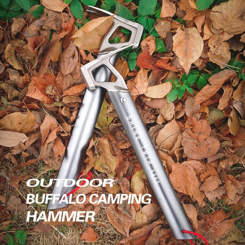 ShineTrip Outdoor Camping Tent Hammer Stainless Steel Tent Nail Puller Hammer Tent Peg Tool for Mountaineering Hiking Climbing