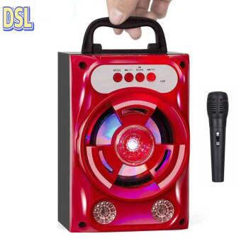 ลำโพง Bluetooth ไร้สาย, ซับวูฟเฟอร์ (รองรับไมโครโฟน, บลูทู ธ , USB, การ์ด TF, วิทยุ) ลำโพง Bluetooth พกพา, ไฟ LED สีสันสดใส ลำโพงบลูทู ธ Bluetooth Speaker ลำโพงบลูทูธ ตระกูลสี สีแดงพร้อมไมโครโฟน,Red with microphone