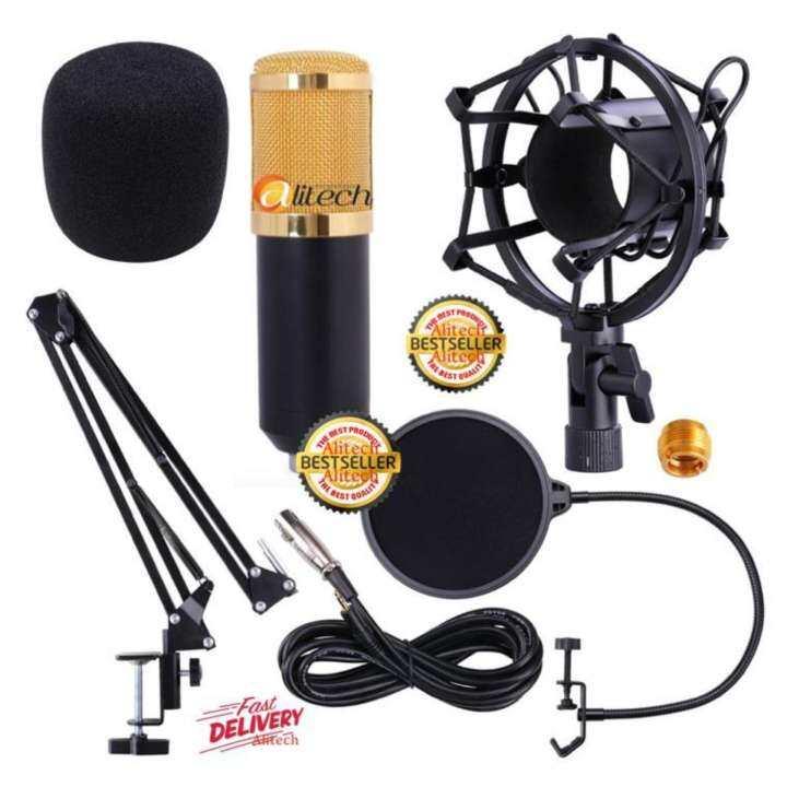 Alitech ไมค์ ไมค์อัดเสียง คอนเดนเซอร์ Pro Condenser Mic Microphone BM800 พร้อม ขาตั้งไมค์โครโฟน และอุปกรณ์เสริม