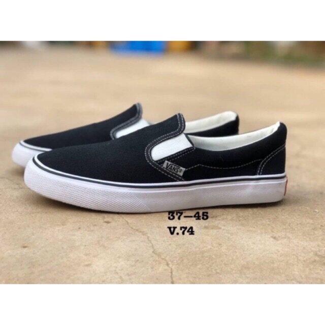 [drean] รองเท้าผ้าใบแบบสวมvans Slip On Sz.36-45 สีดำ ขอบขาว.