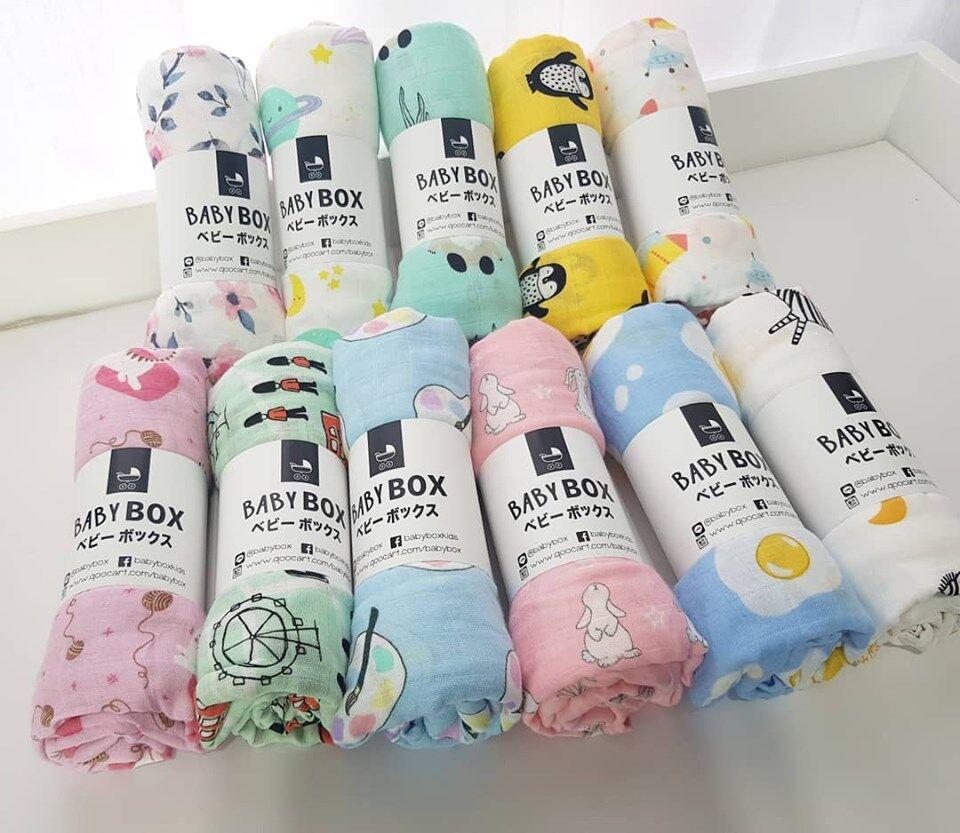 แนะนำ Babybox ผ้าอ้อม ผ้าเช็ดน้ำลาย มัสลิน แบมบู Muslin Burping Bamboo 10 ผืน (เลือกลายแจ้งในแชทนะคะ)