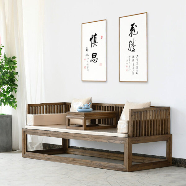 Arhat Bed New Chinese Style Solid Wood Sofa Old Elm Modern Minimalist Living Room Bed Small Zen Rohan Couch