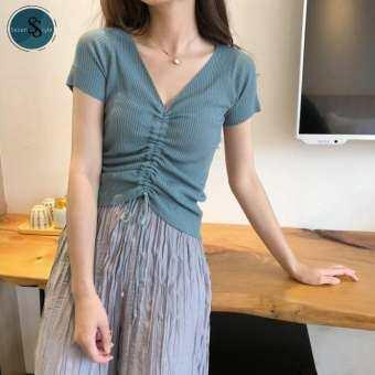 Good  Style - เสื้อยืดไหมพรม คอวี  รูดเชือกด้านหน้า แฟชั่น  มีเก็บเงินปลายทาง  (รุ่นTW-036)   --พร้อมส่ง---