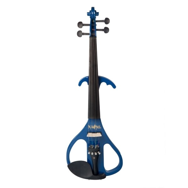 NAOMI Full Size 4/4 Solid Wood Silent Electric Violin Fiddle Maple Body Ebony Fingerboard Pegs Chin Rest Tailpiece
