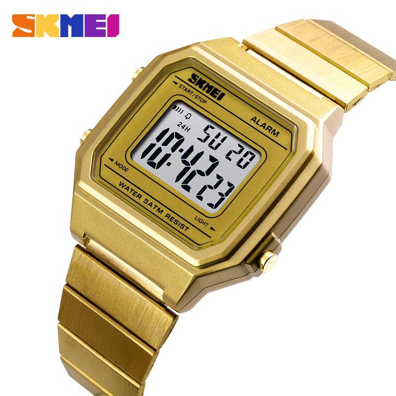 Skmei ใหม่ผู้หญิงนาฬิกาแฟชั่นนับถอยหลังกันน้ำนาฬิกาสแตนเลสแฟชั่นนาฬิกาข้อมือดิจิตอลนาฬิกาผู้หญิง 1377.