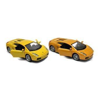 AdapShop รถโมเดลเหล็ก 1:32 เปิดประตูได้ มีไฟ มีเสียง วิ่งได้ (Yellow/Orange) 1 ชุด 2 คัน