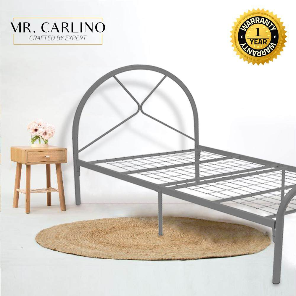 Mr. Carlino: เตียงเดี่ยว หัวเตียงทรงโค้ง คุณภาพดี (single Size Durable Coated Steel Bed Frame) By Carlino Design.