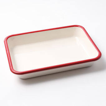 Fuji Horo ถาดอบ สีขาวขอบสีแดง Size L