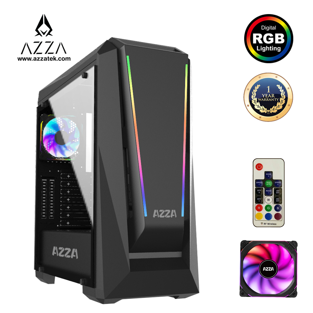 Azza Mid Tower Tempered Glass Rgb Gaming Case Chroma 410a - Black.