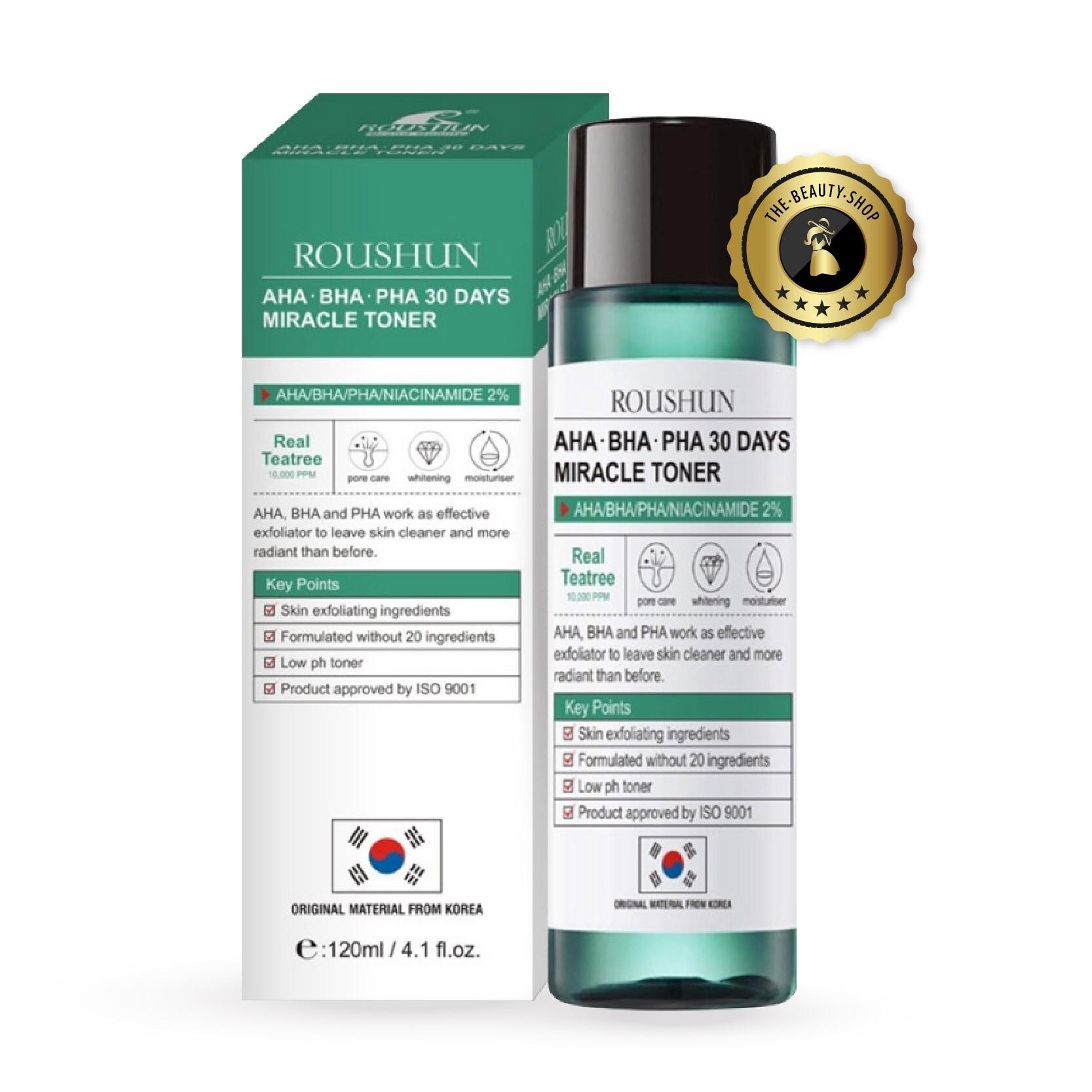 ( สินค้าขายดี / พร้อมส่ง ) โทนเนอร์รักษาสิว AHA-BHA-PHA 30DAYS MIRACLE TONER ปริมาณ 120 ML. จาก ROUSHUN ส่วนผสมจากเกาหลีแท้100%